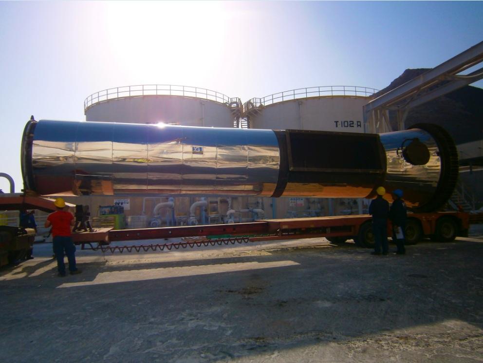 Aislamiento térmico tramo de chimenea de planta industrial de TIMAB en Cartagena, Murcia